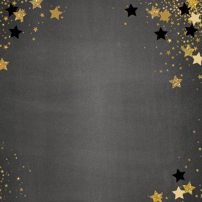 Kerst stijlvolle foto kaart krijtbord en sterren 2021 Achterkant