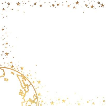 Kerst stijlvolle kaart goud wereldbol met sterren 2019 2