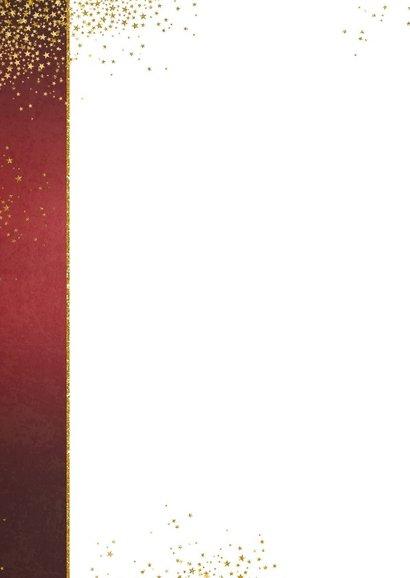 Kerst stijlvolle rode fotokaart sierlijke tekst sterren goud 2