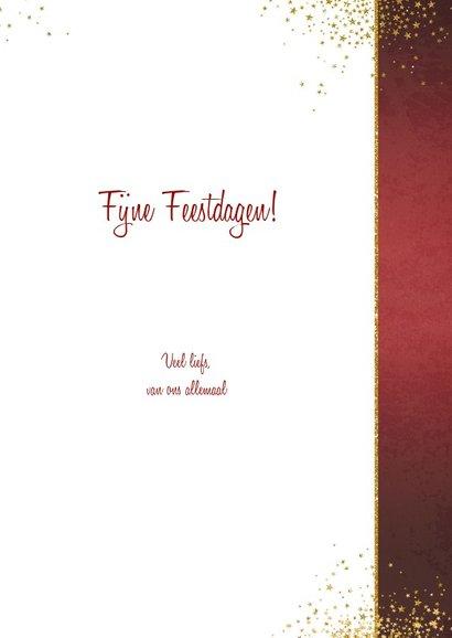 Kerst stijlvolle rode fotokaart sierlijke tekst sterren goud 3
