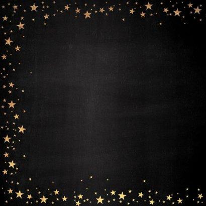 Kerst stijlvolle zwarte kaart goudkleurige tekst en sterren 2