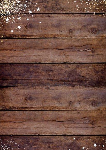 Kerst stoere stijlvolle foto kaart hout en witte sterretjes 2