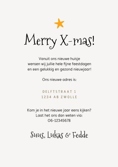 Kerst verhuiskaart dozen lampjes kerstboom sterren 3