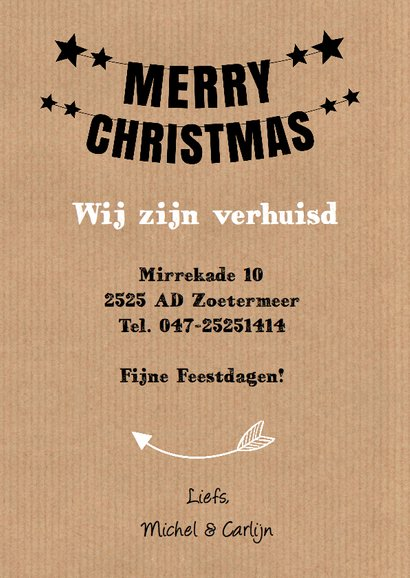 Kerst verhuiskaart fotocollage slinger kraft 3