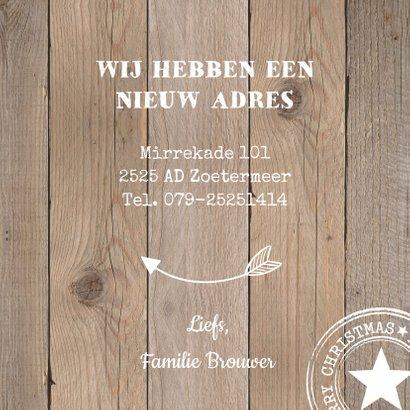 Kerst verhuiskaart houtlook labelprint vierkant 3