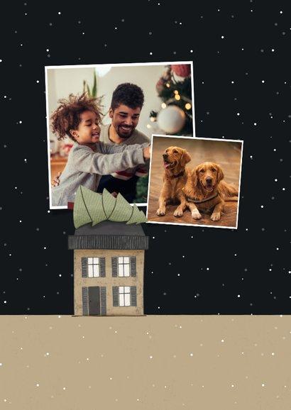 Kerst-verhuiskaart huisjes met kerstbomen en sneeuw 2