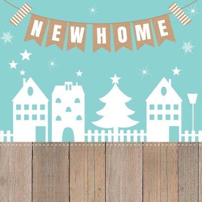 Kerst-verhuiskaart huisjes slinger houtlook 2
