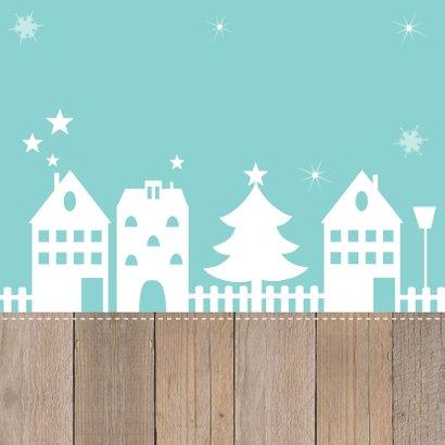 Kerst-verhuiskaart huisjes slinger houtlook Achterkant