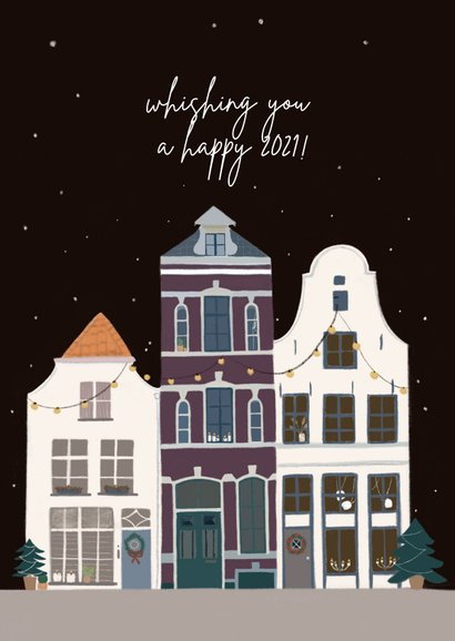 Kerst verhuiskaart huizen in kerstsfeer 2