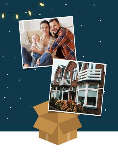 Kerst verhuiskaart kerstboom kerstballen winter sneeuw 2