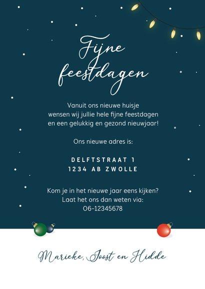 Kerst verhuiskaart kerstboom kerstballen winter sneeuw 3