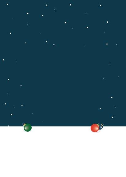 Kerst verhuiskaart kerstboom kerstballen winter sneeuw Achterkant
