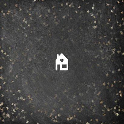 Kerst verhuiskaart krijtbord sterren sneeuwvlokken en huis Achterkant
