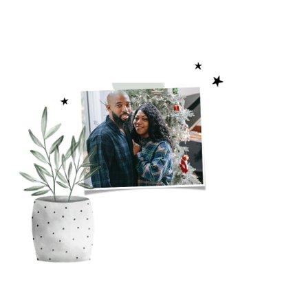 Kerst verhuiskaart met foto, planten en sterren 2