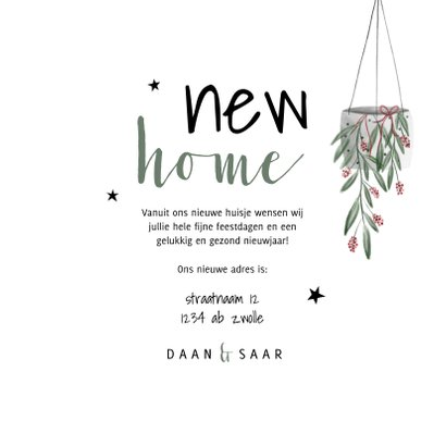 Kerst verhuiskaart met foto, planten en sterren 3