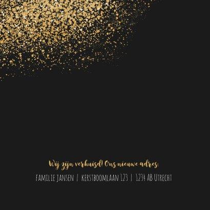 Kerst verhuiskaart met goudlook confetti en dust 2