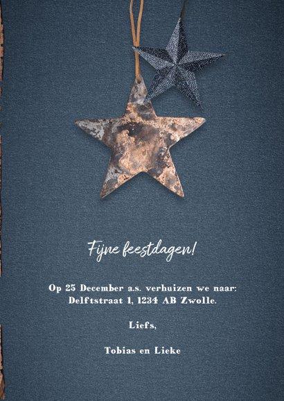 Kerst verhuiskaart met hout, sterren en foto's 3