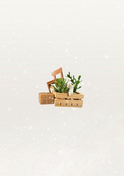 Kerst verhuiskaart met Volkswagen busje en spullen op dak Achterkant