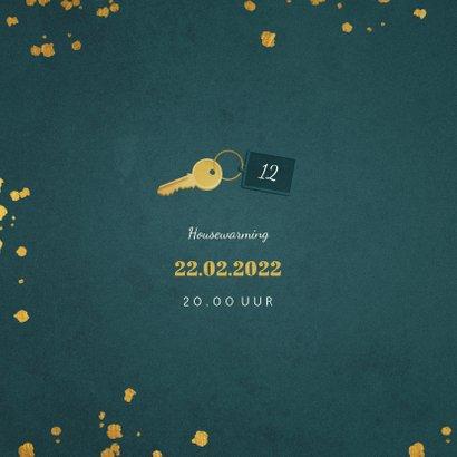 Kerst-verhuiskaart sleutel met label new home 2
