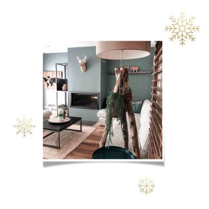 Kerst verhuiskaart sneeuwvlokken, huisje, adres wijziging 2