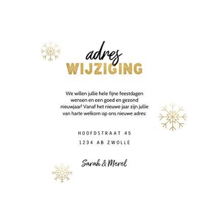 Kerst verhuiskaart sneeuwvlokken, huisje, adres wijziging 3