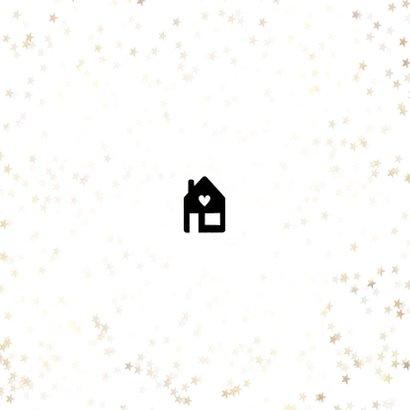 Kerst verhuiskaart sneeuwvlokken, huisje, adres wijziging Achterkant