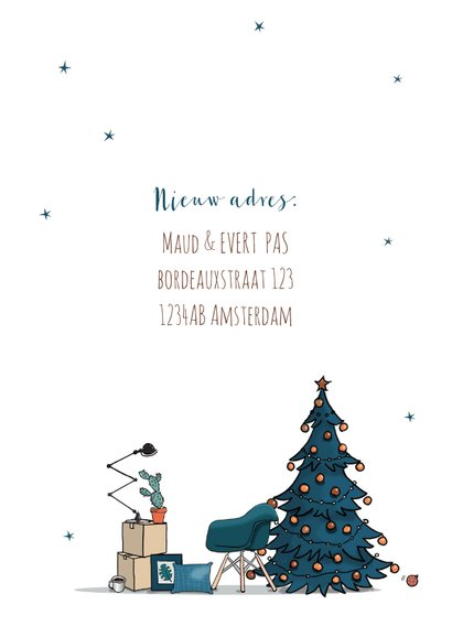 Kerst verhuiskaart Trabant wit met blauwe kerstboom 3