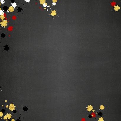Kerst vrolijke kaart krijtbord met goud elementen en foto 2