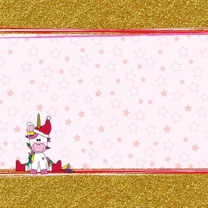 Kerst vrolijke kaart met een schattige unicorn met kerstmuts 2
