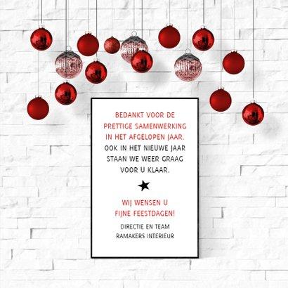 Kerst zakelijk interieur poster en kerstballen 3
