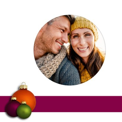 Kerstkaart Kerstballen paars oranje groen 2
