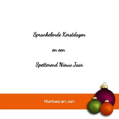 Kerstkaart Kerstballen paars oranje groen 3