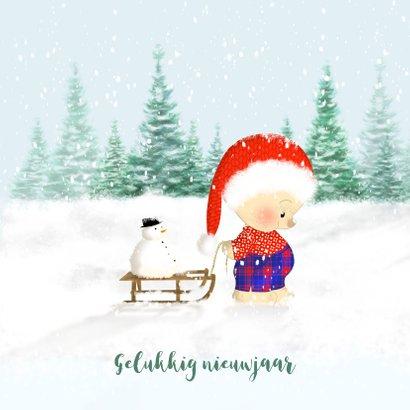 Kerstbeer met slee en konijn in de sneeuw 2