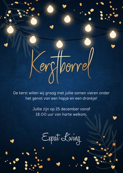Kerstborrel confetti lampjes uitnodiging donkerblauw 3