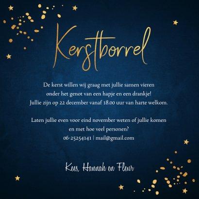 Kerstborrel uitnodiging donkerblauw confetti goudlook 3