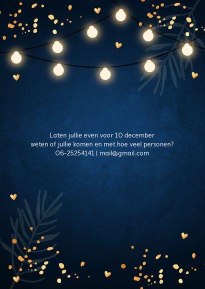 Kerstborrel uitnodiging donkerblauw confetti lampjes 2