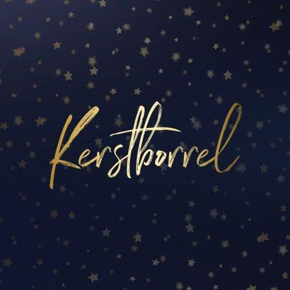 Kerstborrel uitnodiging goud met sterren 2