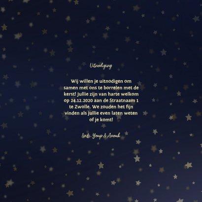 Kerstborrel uitnodiging goud met sterren 3