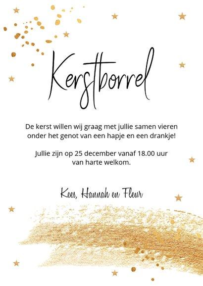 Kerstborrel uitnodiging met goudlook confetti 3