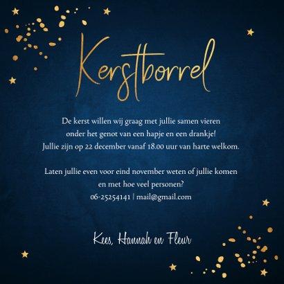 Kerstborrel uitnodiging rendier goudlook confetti  3