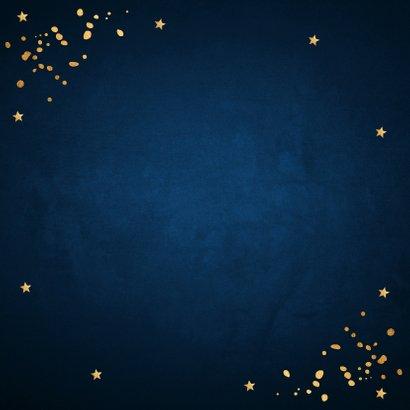 Kerstborrel uitnodiging rendier goudlook confetti  Achterkant