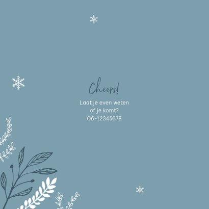 Kerstborrel uitnodiging stijlvol winter pastel blauw 2
