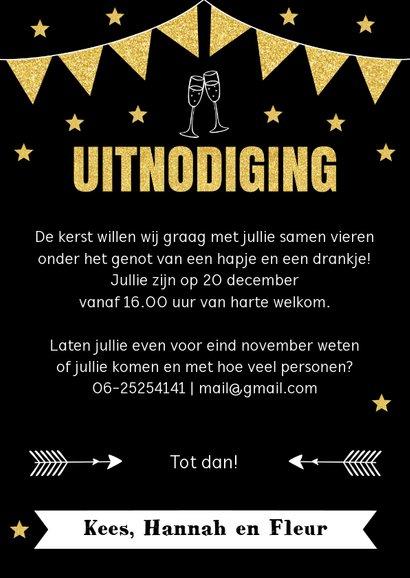 Kerstborrel uitnodiging typografie goud sterren 3