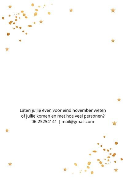 Kerstborrel uitnodiging wit goudlook confetti 2