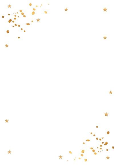 Kerstborrel uitnodiging wit goudlook confetti Achterkant
