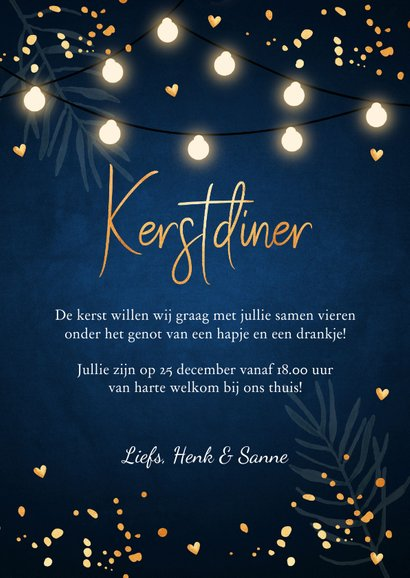 Kerstdiner uitnodiging blauw confetti goudlook 3
