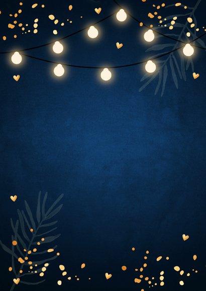 Kerstdiner uitnodiging blauw confetti goudlook Achterkant
