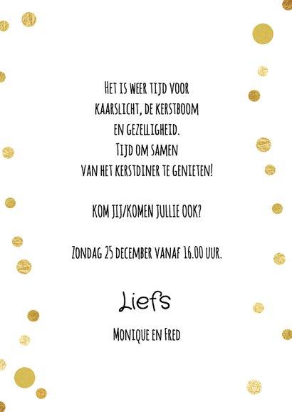 Kerstdiner uitnodiging diner en confetti goud 3
