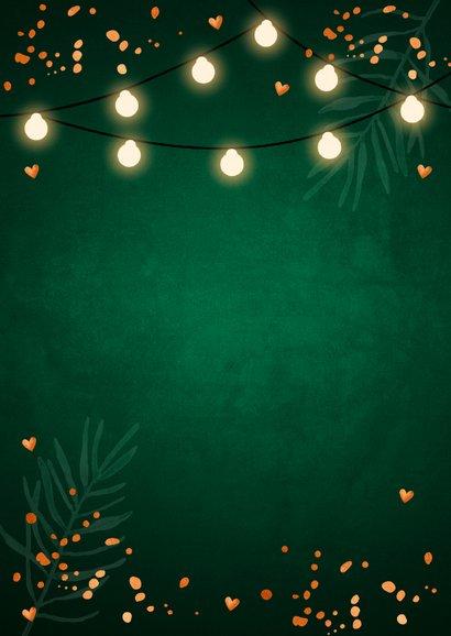 Kerstdiner uitnodiging donkergroen confetti lampjes 2