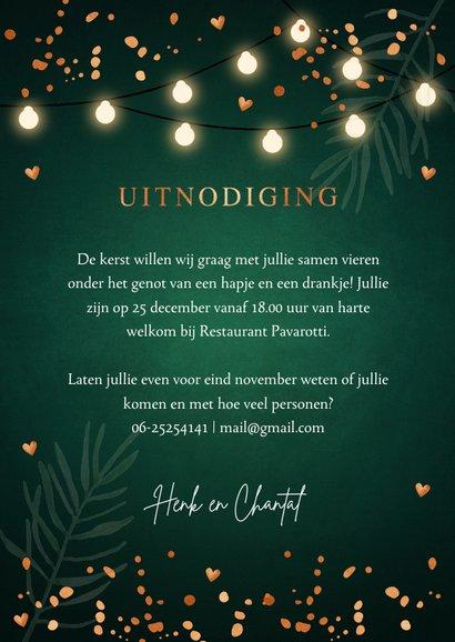 Kerstdiner uitnodiging donkergroen confetti lampjes 3